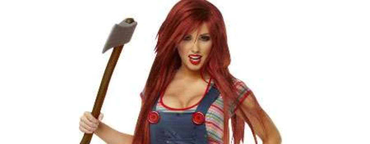Cuidado con esta bad girl!  Enfundada en este  traje de  Chucky Sexy con  medias rojas hasta el muslo. Killer!