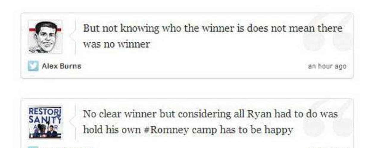 La opinión del público estuvo muy dividida. Algunos creen que la risa de Biden fue perjudicial para él, otros que dejaban en ridículo a Ryan, lo cierto, que por ahora, fue lo que más se hizo notar del debate. El verdadero ganador se conocerá con el correr de los días.