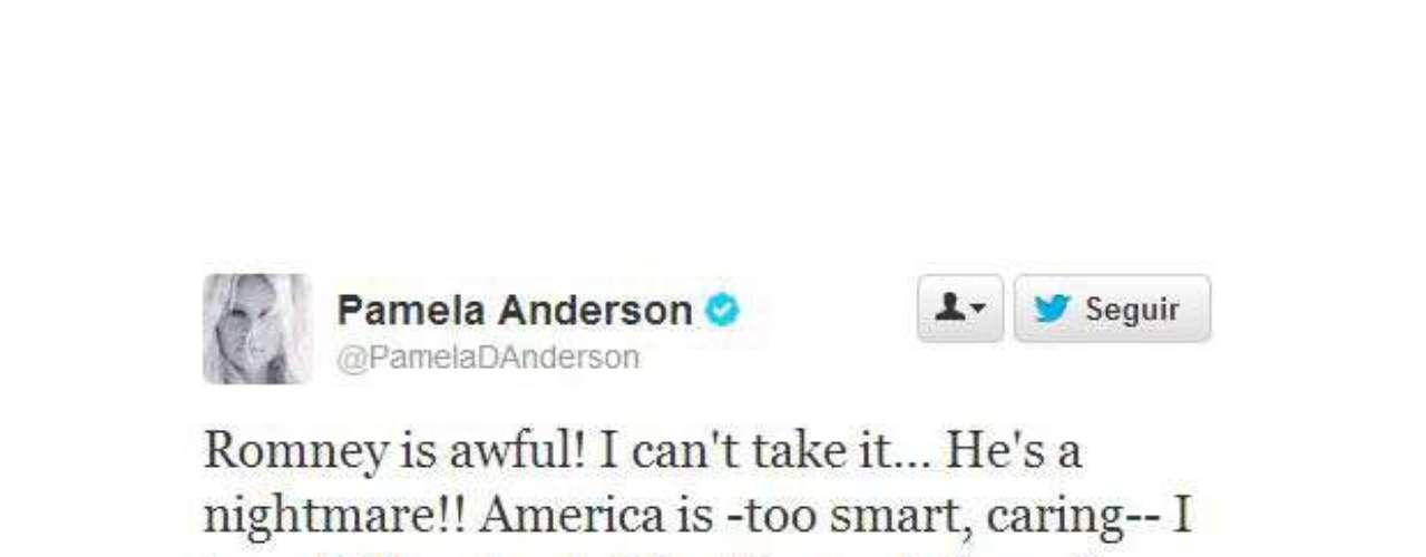 La bella y sensual Pamela Anderson, en cambio, dijo que Romney es 'feo' y 'una pesadilla'. \