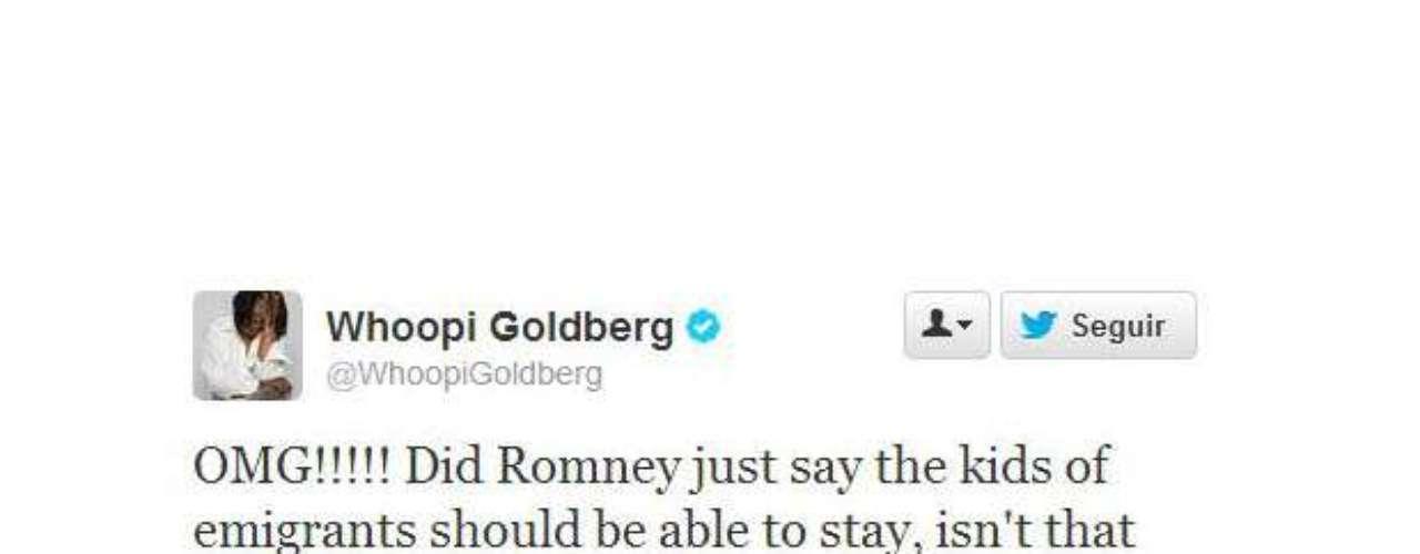 Whoopi Goldberg se preocupó cuando Romney habló sobre inmigración. \