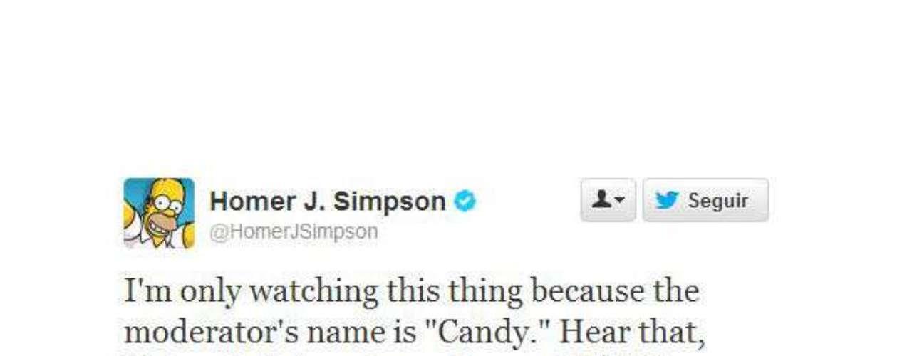Y por último, Homero J. Simpson quizás fue el más sincero de todos. Dijo que miró el debate porque la moderadora se llamaba \