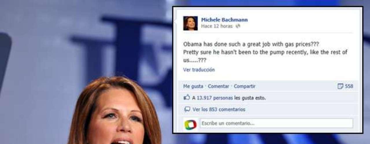 La líder política y ex aspirante a la candidatura presidencial republicana, Michele Bachmann, posteó en su muro de Facebook y le echó en cara a Obama respecto a los precios de la gasolina.