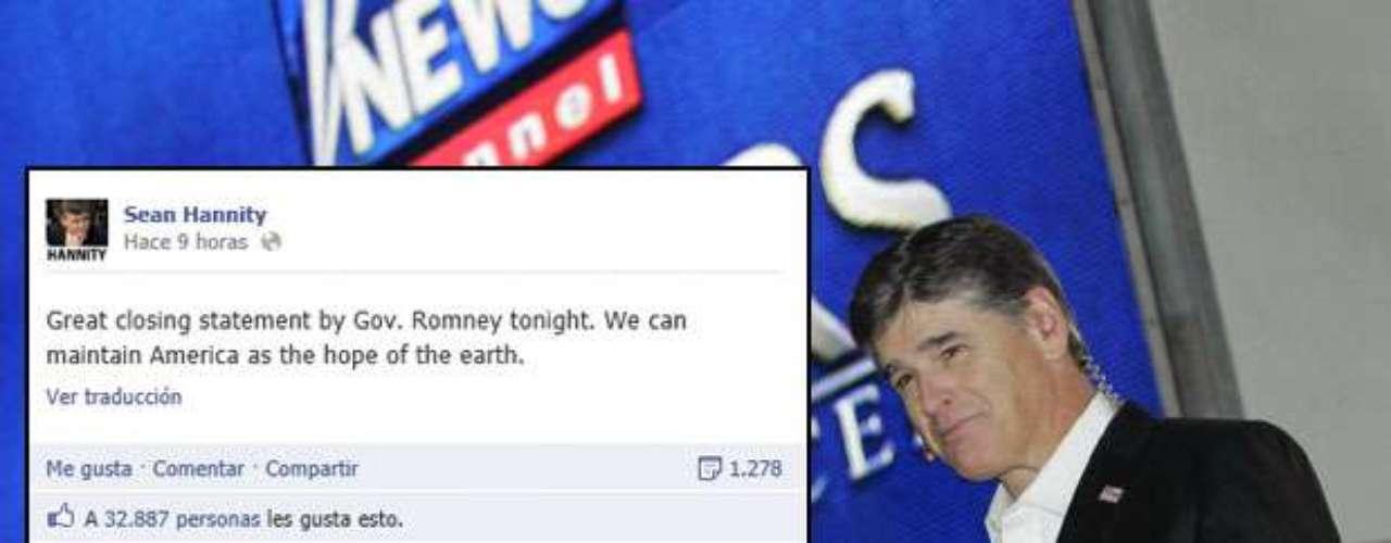 El locutor de radio y líder político Sean Hannity publicó en su muro de Facebook una opinión que generó miles de likes en la que destacó la declaración final de Romney en el último debate presidencial ante Obama: \