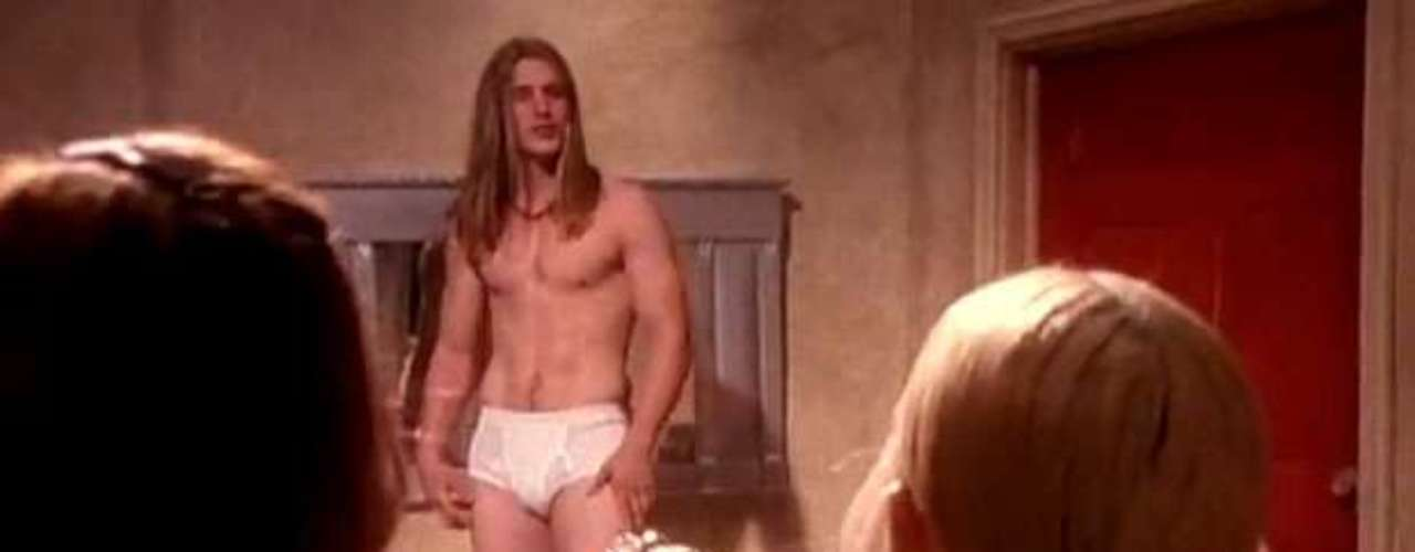 The sexiest scene in the clip features Madge and her pals Sofia Coppola and Debi Mazar among them, observing a fine specimen in his underwear while eating bananas.