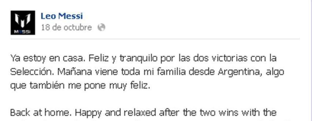 Hace unos días, Leo Messi publicó en facebook que su familia de Argentina ya había llegado a Barcelona para esperar el nacimiento de Thiago.