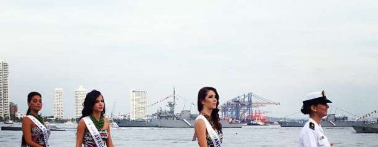 Las candidatas en la Base Naval en Cartagena. Sin duda todas han sido recibidas con mucha alegría y entusiasmo.