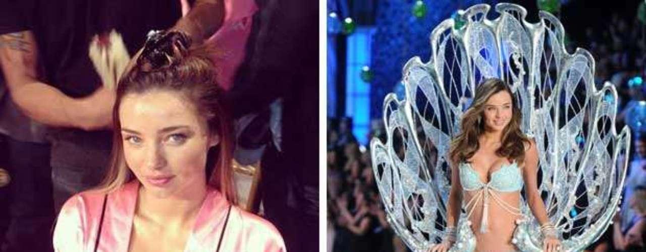 Miranda Kerr está justo ahora siendo maquillada y peinada para subir a la pasarela.