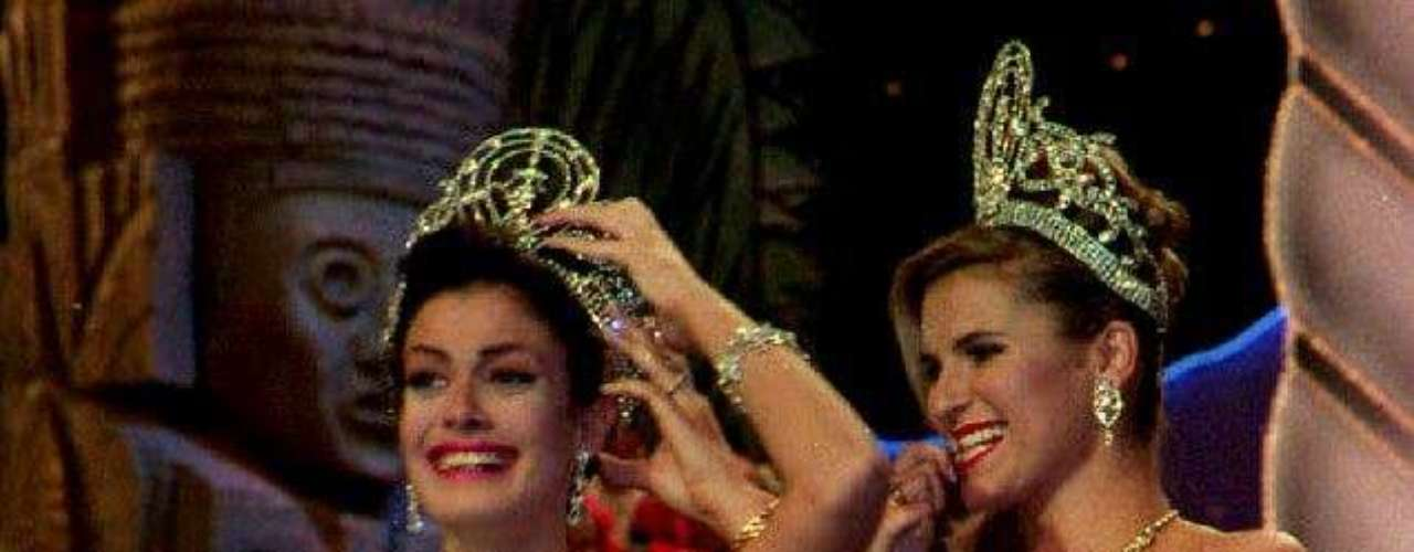 Dayanara Torres from Puerto Rico was crowned with the Miss Universe title in 1993 by Michelle McLean of Namibia.