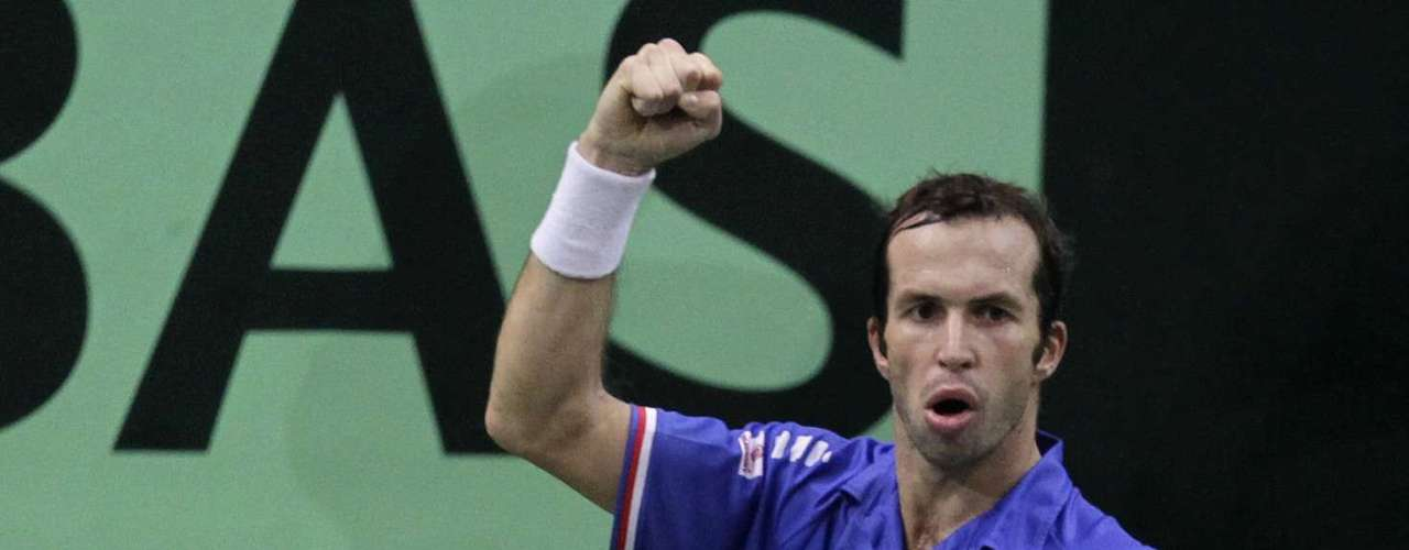 Czech Republic's Radek Stepanek reacts during their Davis Cup tennis tournament final match against Spain's Nicolas Almagro in Prague November 18, 2012.