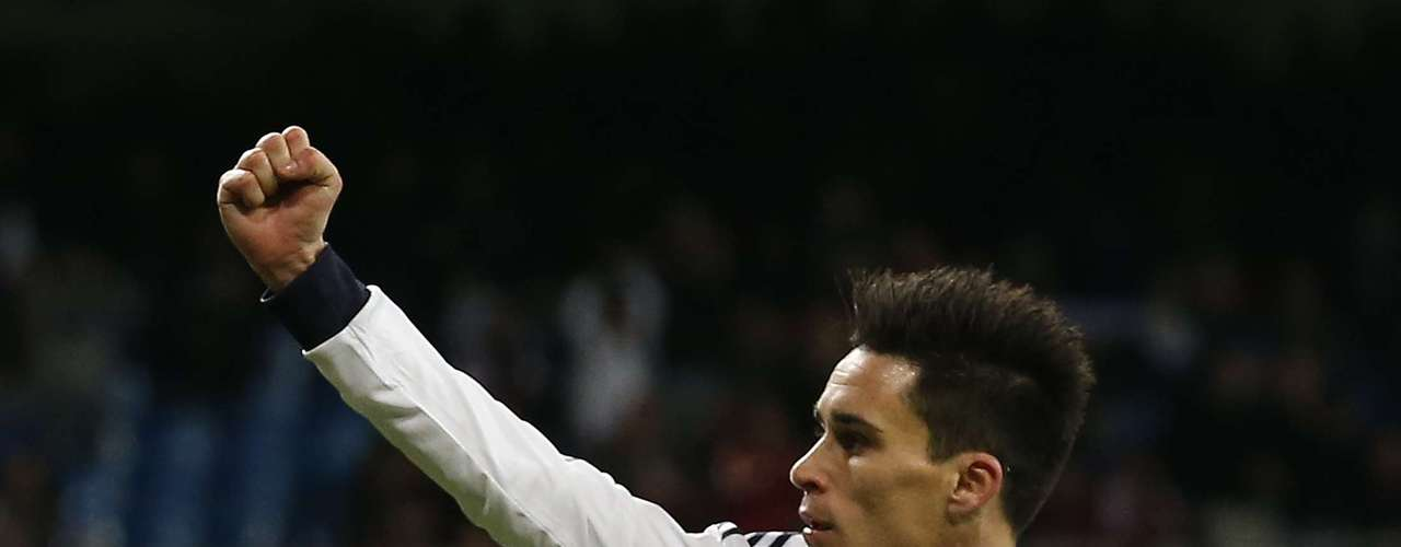 Jose Maria Callejon celebrates his first goal during the match. REUTERS/Juan Medina