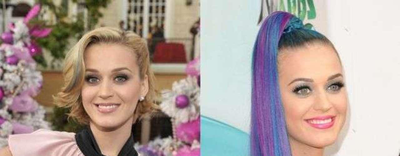 Katy Perry. El cabello de la cantante es como un arcoíris, ha pasado por muchísimos colores. Rojo, morado, azul, amarillo, etc. Sin embargo, uno de sus peores cambios de look fue cuando decidió pintarlo de azul y rosa. Es una chica muy guapa, no entendemos por qué se quiere afear con tanto cambio. Por cierto, su look de cabello azul también fue fatal.