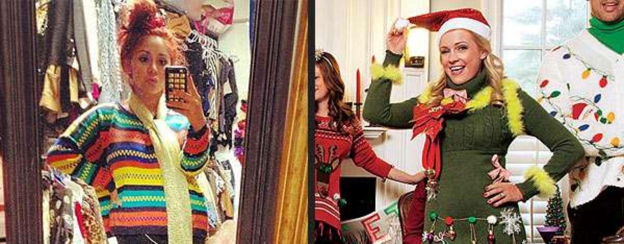 Snooki con un look muy colorido se prepara para la Navidad