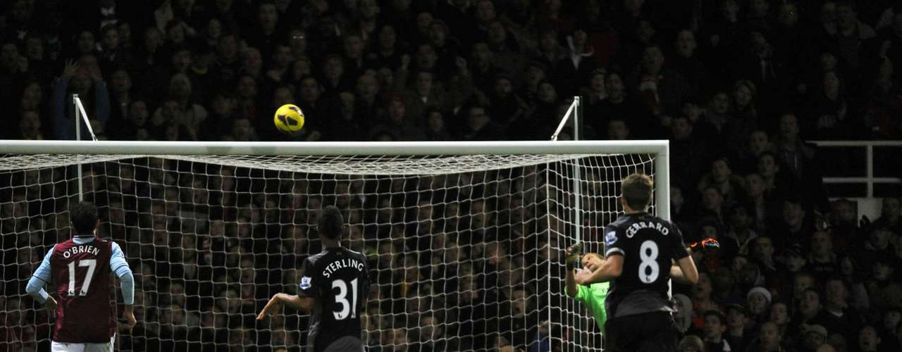 West Ham's goalkeeper Jussi Jaaskelainen watches as the ball goes into the net during their English Premier League soccer match against Liverpool at Upton Park in London December 9, 2012.