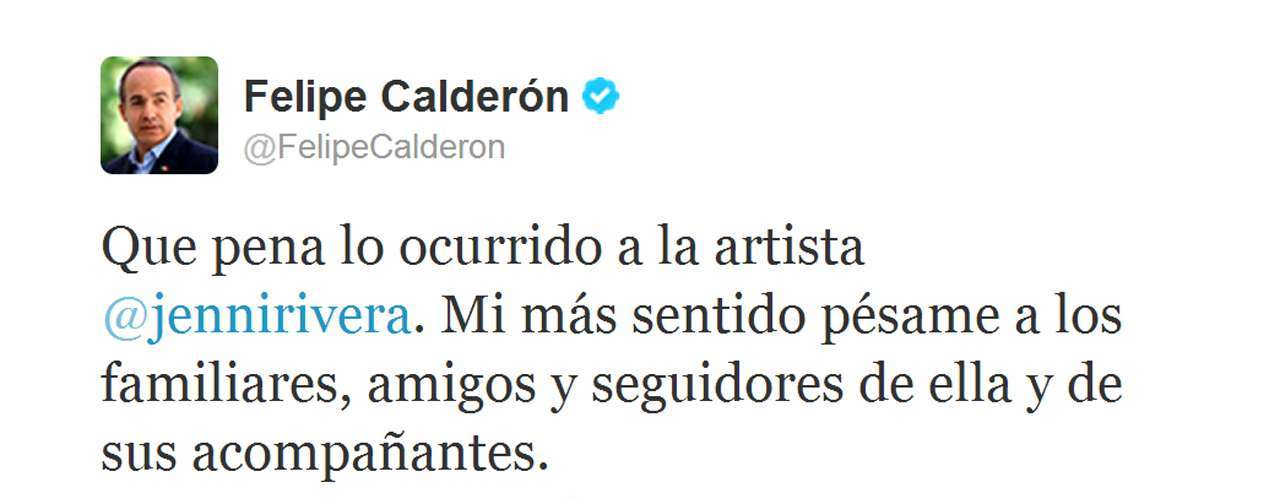 El expresidente de México Felipe Calderón envió sus condolencias a la familia de la artista.