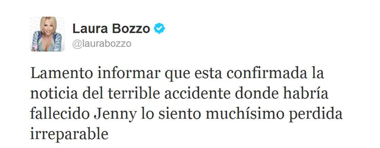 La conductora Laura Bozzo confirmó en Twitter la noticia de la muerte de Jenni Rivera.
