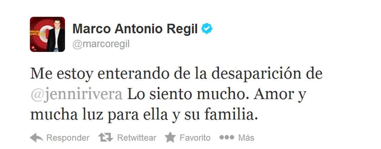 Marco Antonio Regil aprovechó para enviar un mensaje positivo a los amigos y familiares de Jenni Rivera.