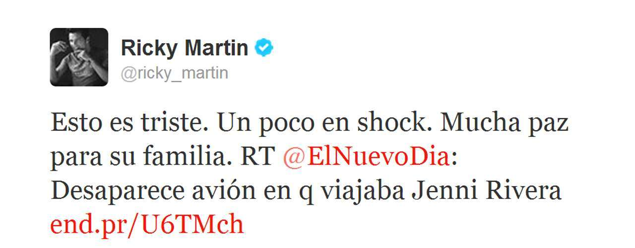 Ricky Martin also tweeted this message.