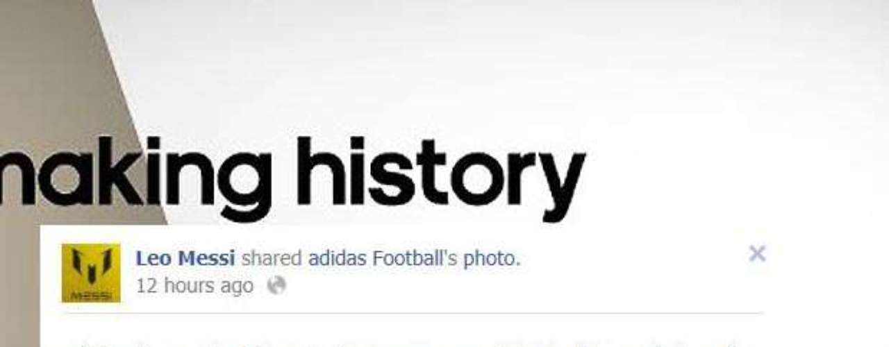 Lionel Messi posted this adidas ad congratulating him on breaking Gerd Muller's record for goals in a calendar year.