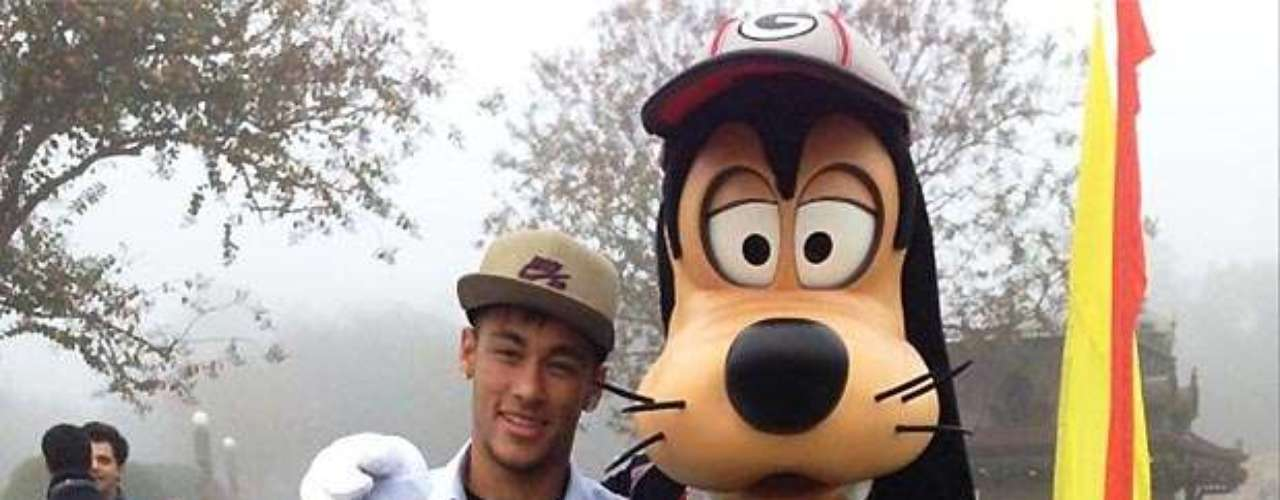 Neymar tweeted this photo of him and a 'friend' at Disney, one of several the Brazilian star shared with his fans.