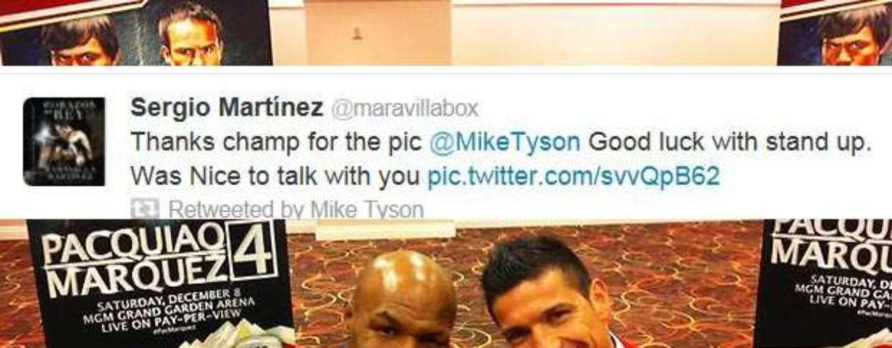 Mike Tyson retweeted this photo and comment from Sergio Martinez from when they met up during the Pacquiao-Marquez fight.