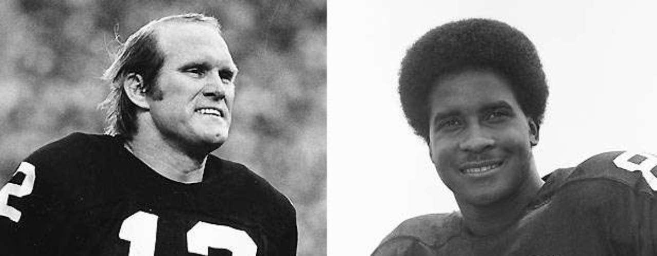 Por último, llegamos a la pareja que ganó más Super Bowls que cualquiera en esta lista. Terry Bradshaw y Lynn Swann estuvieron juntos durante los cuatro Super Bowls que los Steelers ganaron en los 70, y cada uno jugó su parte en los partidos importantes. En el X contra los Cowboys, Swann agarró 4 pases para 161 yardas y el TD de la victoria para ganar el MVP en el triunfo 21-17 de Pittsburgh. Tres años más tarde, también en contra de Dallas, Bradshaw lanzó para 318 yardas y 4 touchdowns para ganar el MVP. Swann agarró 7 pases para 124 yardas y un touchdown ese día también. Un año más tarde, contra los Rams, Bradshaw fue nombrado como MVP de nuevo después de lanzar para 309 yardas y 2 touchdowns, mientras que Swann agarró 5 pases para 79 yardas y una anotación.