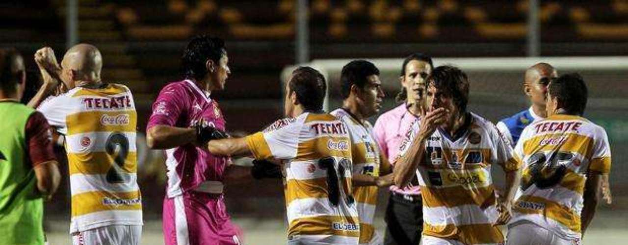 A second division game in the Liga MX deteriorated into mayhem on October 19, 2012, when players from Dorados and Tecos got into it leaving 12 players suspended and a fractured nose among its casualties.