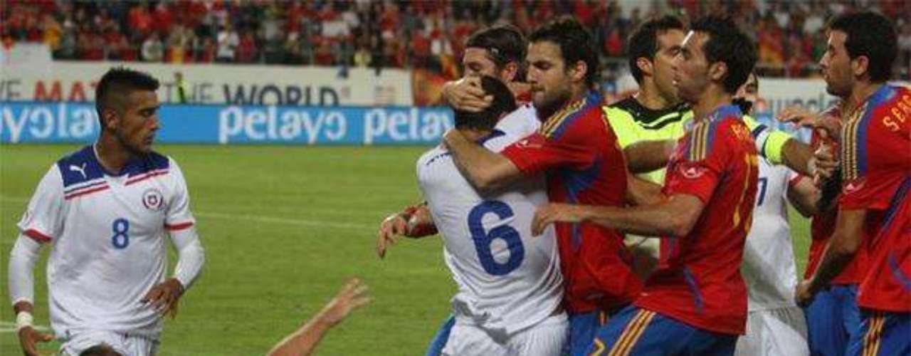 On September 3, 2011,a friendly match between Spain and Chile, ended in a not so friendly fashion as a result of a fight between players after  a hard foul by Arturo Vidal on Andrés Iniesta.