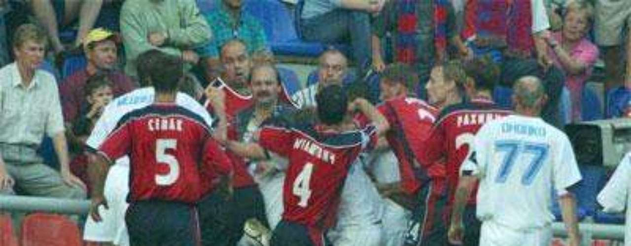 In a heated game, decided in the final minutes, chaos erupted during a violent fight between players for Saturnand CSKA in Russia in 2004, which left some players in the hospital.
