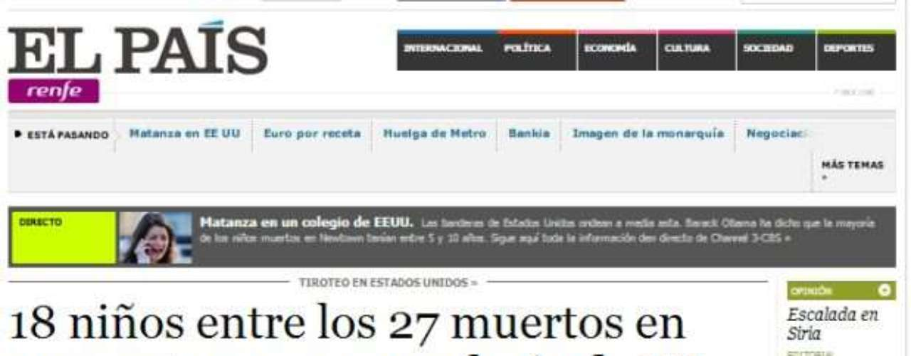 Portada del Diario El País de España.