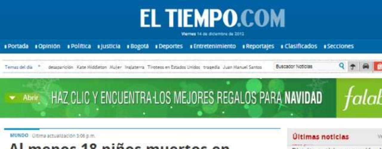 Portada de Diario El Tiempo de Colombia.