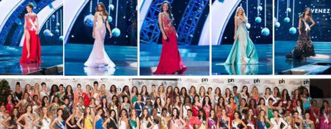 Las 89 candidatas al certamen de Miss Universo compitieron en trajede nochefrente a los jurados, como parte de la agenda real prevista para las participantes. Aquí su deslumbrante presentación.