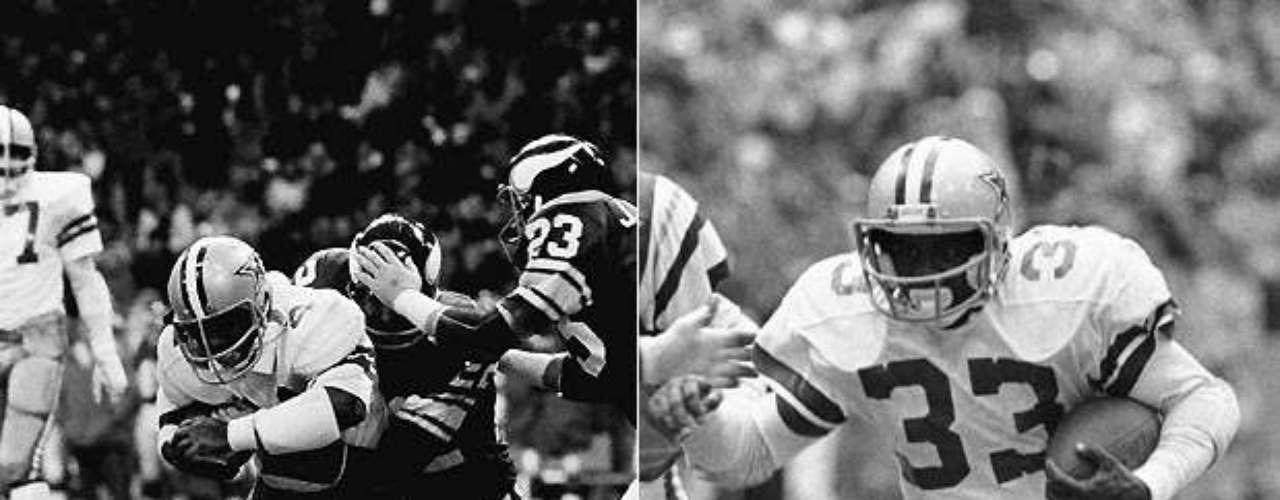 Robert Newhouse (izquierda) y Tony Dorsett llegaron a dos Super Bowls juntos desde el momento en el que Dorsett llegó en 1977, ganando en el año de novato de TD. Newhouse lideró a Dallas en yardas por tierra con 930 yardas en 1975, y lanzó el pase de TD decisivo en el Super Bowl XII. Dorsett corrió para más de 1,000 yardas en sus primeras cuatro temporadas con Newhouse como su bloqueo, y terminó su carrera como el corredor N º 2 en la historia de la NFL.