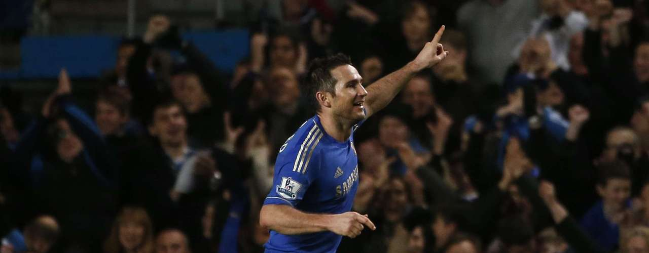Chelsea's Frank Lampard celebrates his goal against Aston Villa.