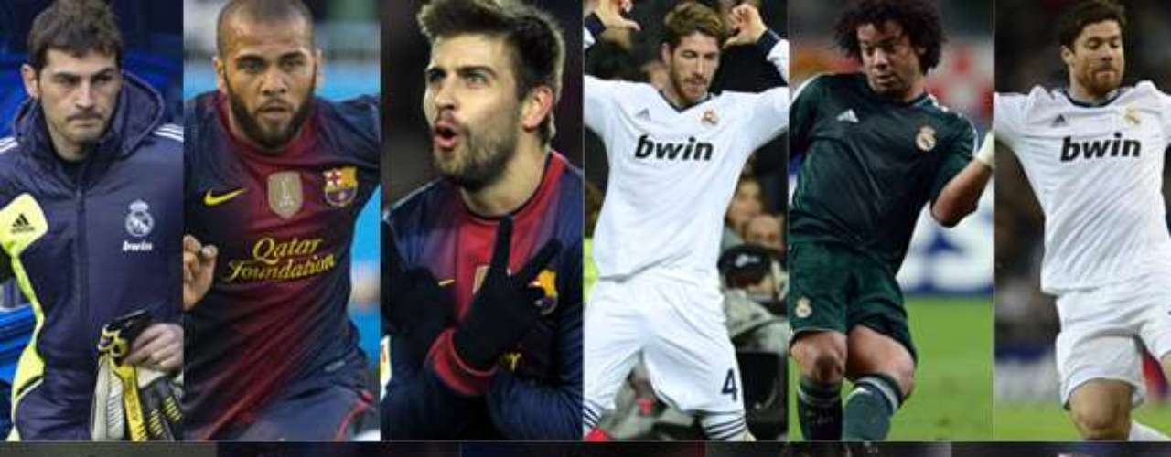 Five Real Madrid players, five Barcelona players and one Atletico Madrid player, made the FIFPro Best XI of 2012.