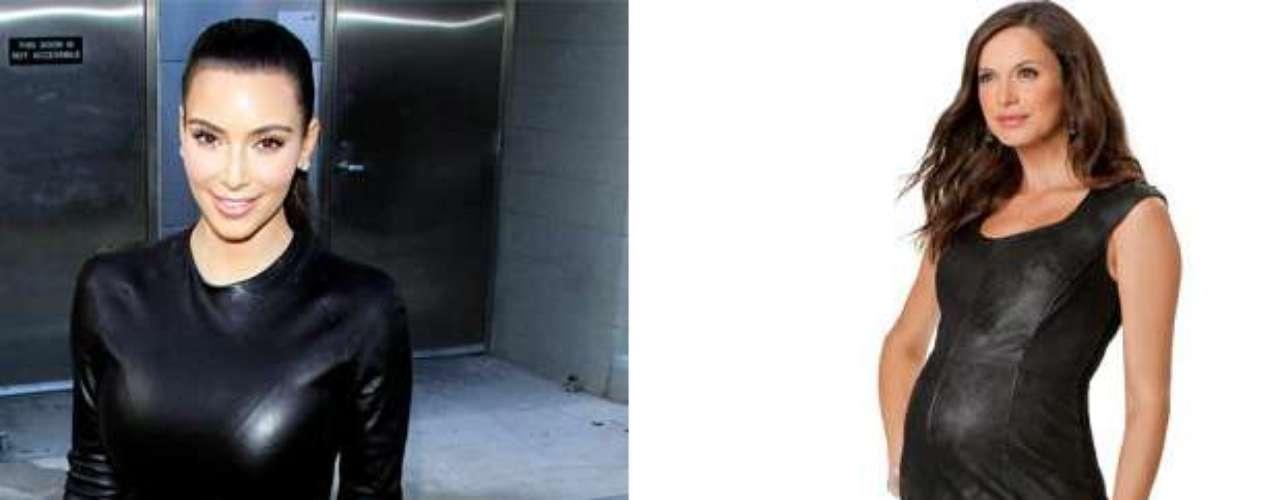 Vestido de cuero: buenas noticias para Kim, que adora entallarse en vestidos de cuero. ¡Los hay también para embarazadas!
