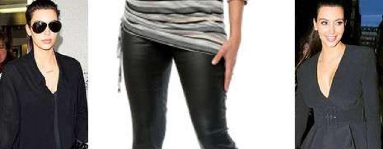 Pantalones de cuero, o simil cuero: el look de los pantalones de cuero es uno de los favoritos de Kim Kardsahian. En la versión de maternidad se pueden conseguir en motherhood.com, y son parte de la colección de maternidad de Jessica Simpson.