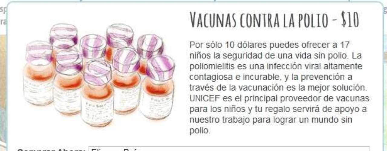 Las donaciones pueden ser de 10 dólares en adelante, y sirven para comprar mosquiteros, vacunas contra la polio y alimentos.