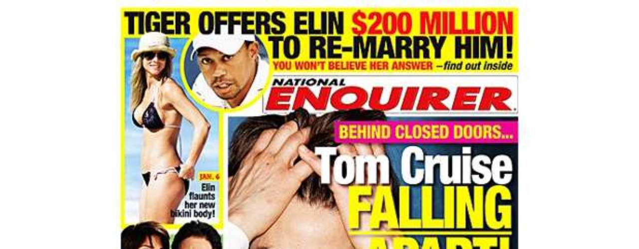 OMG!  From the looks of this cover, Tom Cruise is so stressed about his gay sex scandals and child support that he's going to pull his hair out.  Will Tommy go bald?!
