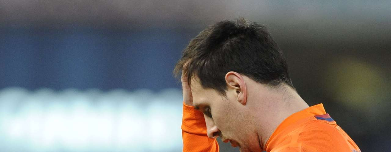 Lionel Messi reacts after Barcelona lost their first game of the season.