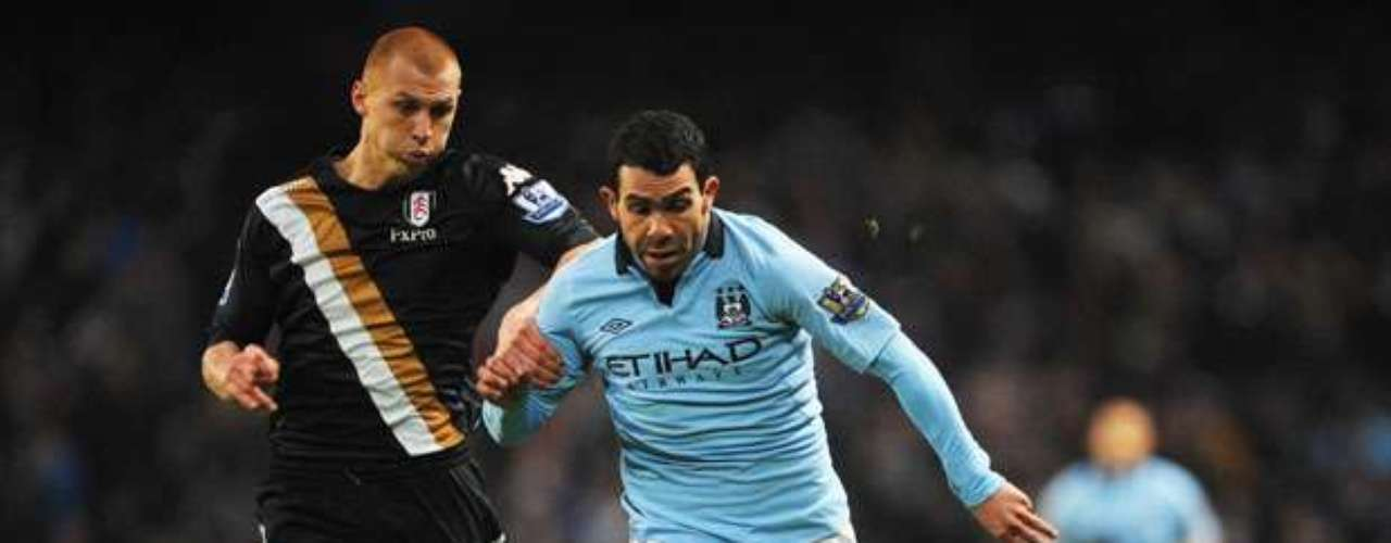 Carlos Tevez was active throughout and assisted on Silva's second goal.