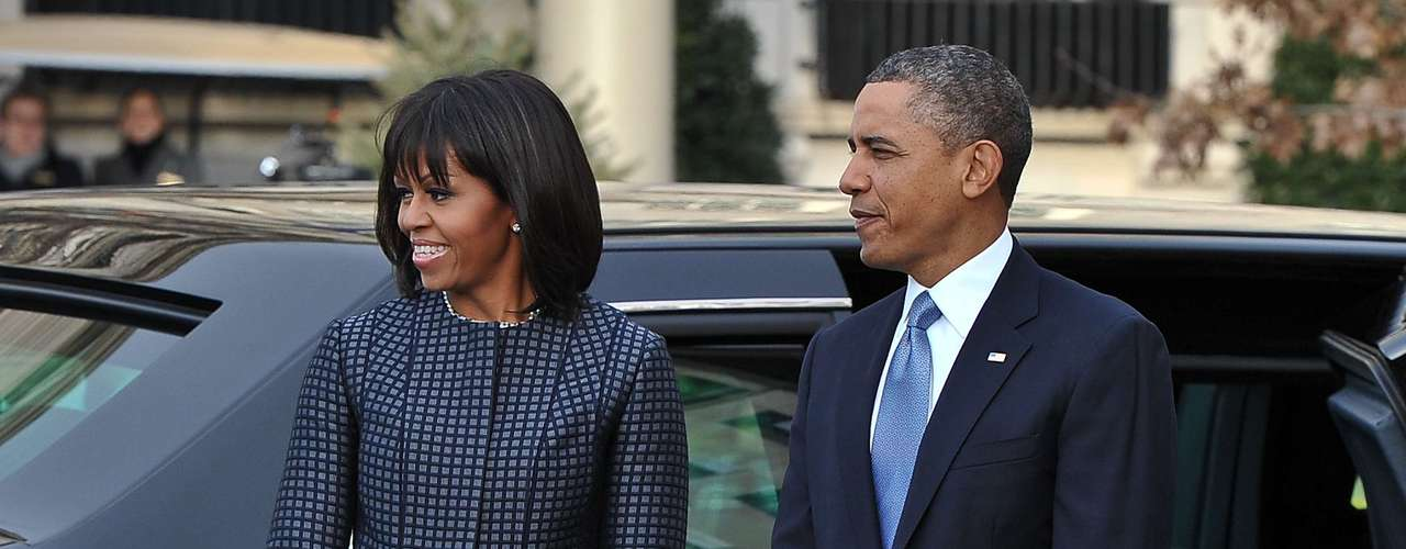 Michelle Obama's daytime outfit for the Inauguration 2013 is a Thom Browne design.