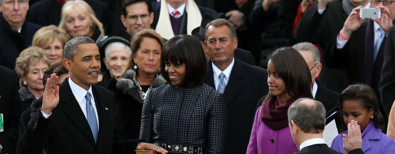 The charge of giving the president his oath was John Roberts, Chief Justice of the U.S.