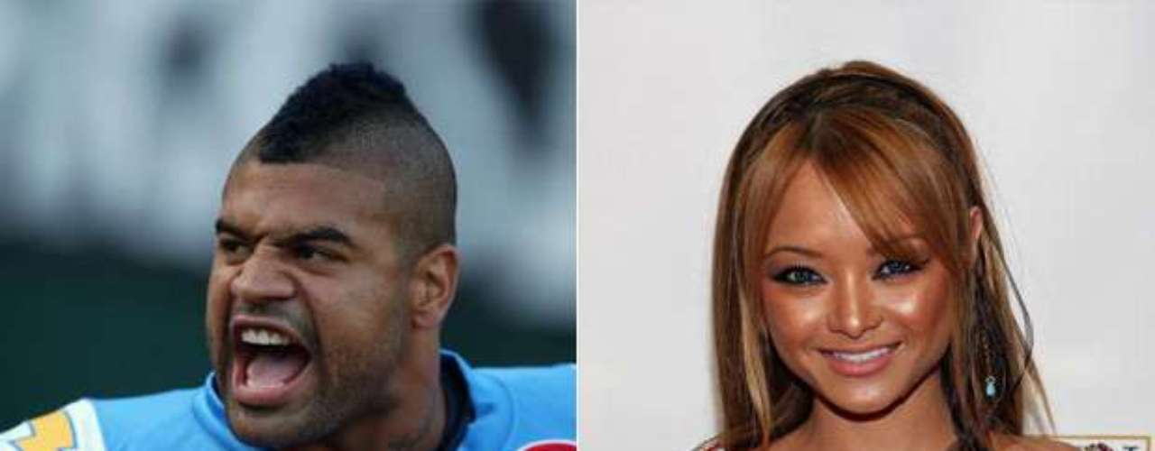 Shawne Merriman and physical abuse: In 2009 when he played for the San Diego Chargers, Merriman was arrested after an incident with actress Tila Tequila, who accused him of trying to strangle her. Tila was taken to a local hospital while Merriman was arrested for a couple hours and was free after posting a bail US$58 thousand. Merriman was declared innocent for lack of proof.