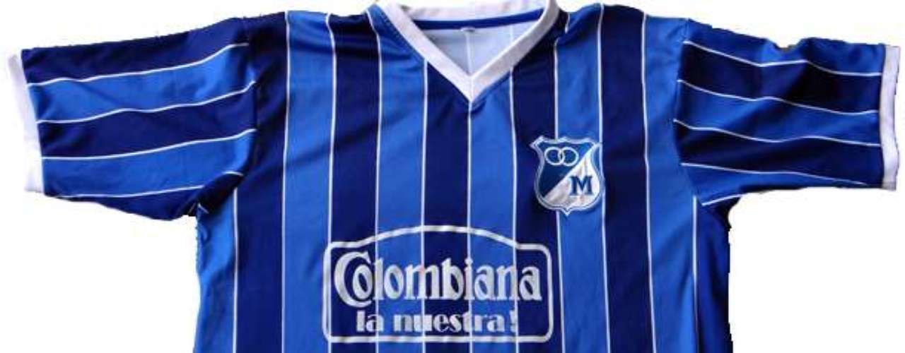 Camiseta utilizada por Millonarios en 1987, patrocinada por la marca Puma