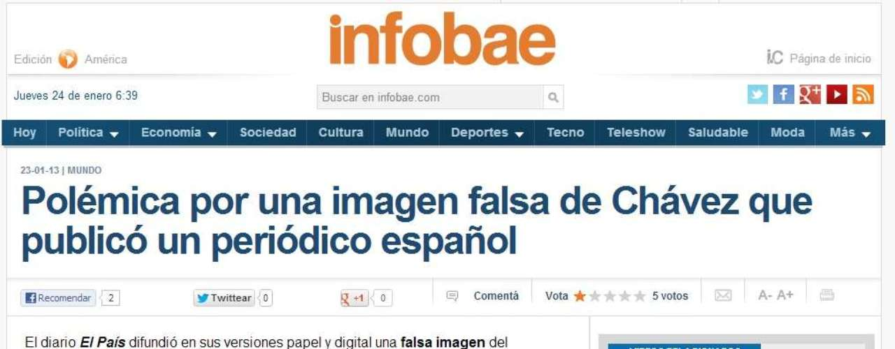 The newspapers showed the 'misprint' of the false photo of Chavez. In fact, Infobae and other media ran headines on their web site page alluding to the controversy.