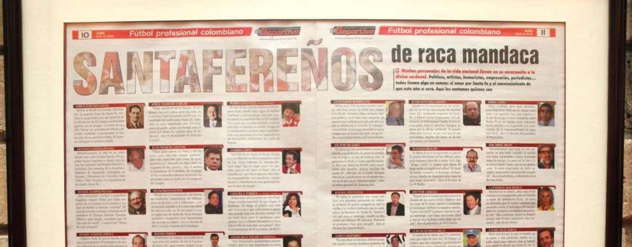 En uno de los restaurantes de Pedro González, 'Don Jediondo', está enmarcado este artículo de hinchas de Santa Fe.