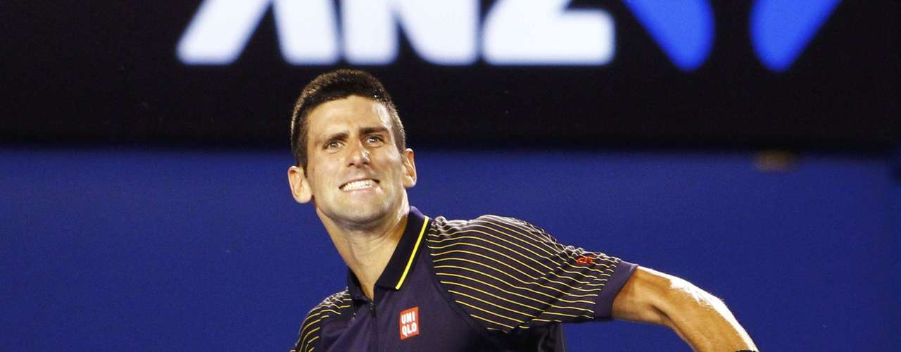 Novak Djokovic of Serbia celebrates defeating David Ferrer of Spain.