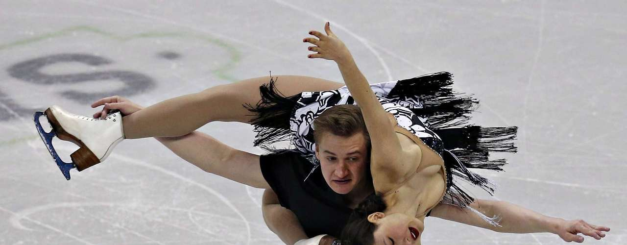 Isabella Cannuscio and Michael Bramante compete during the pair's free dance at the U.S. Figure Skating Championships in Omaha, Nebraska, January 26, 2013.  REUTERS/Jim Young  (UNITED STATES - Tags: SPORT FIGURE SKATING)