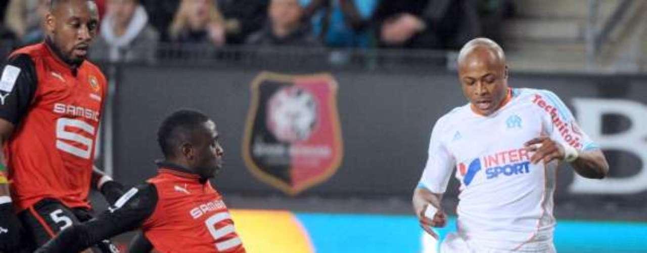 Olympique de Marsella empató 2-2 en su visita a Stade Rennais, con goles de los hermanos Ayew.