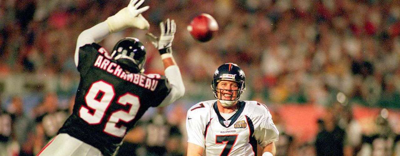 Super Bowl XXXIII: The Denver Broncos dominated the Atlanta Falcos 34-19, with John Elway throwing for 336 yards and a touchdown in his last game.